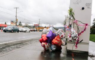 memorial along a Portland arterial highway